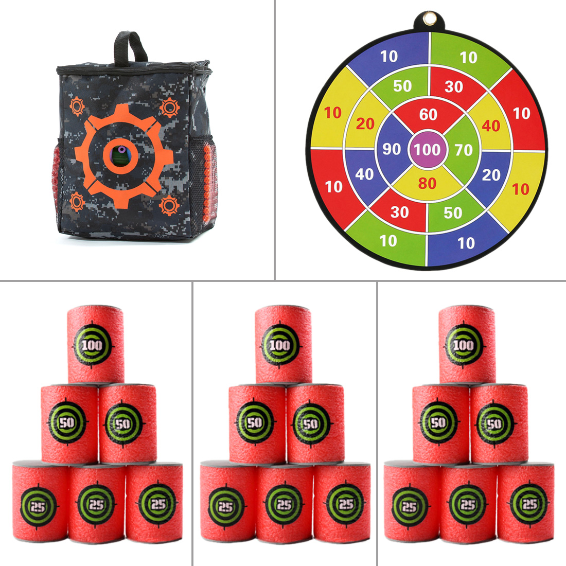 3Pcs Standard Version Soft Bullet Dart Board Target Can Target Bag Kit For Nerf Shooting Tactical Target Paintball Accessories