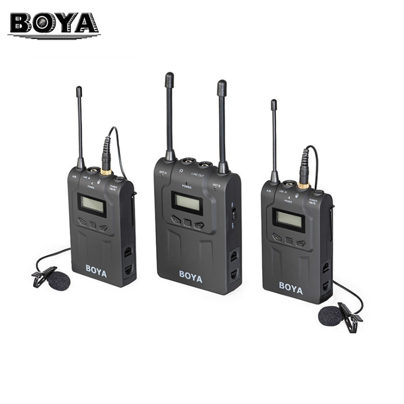 BOYA BY-WM8 Pro UHF sans fil Lavalier système de Microphone pour iPhone 6 vidéo Interview diffusion Canon Nikon DSLR caméra caméscope
