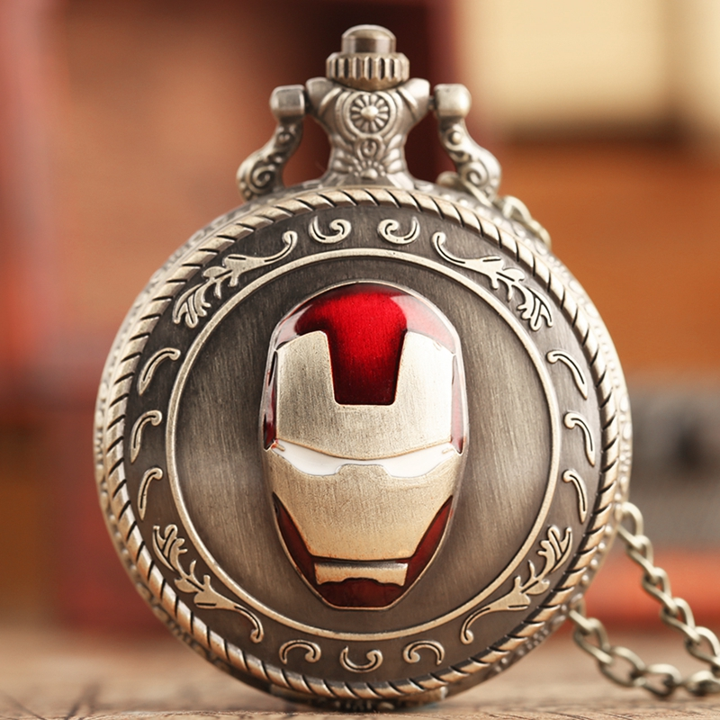 Iron Man Top Vintage Pocket Watch Quartz Analog Mask Superman Necklace Chain Copper Jewelry Avengers Gifts For Men Collectibles
