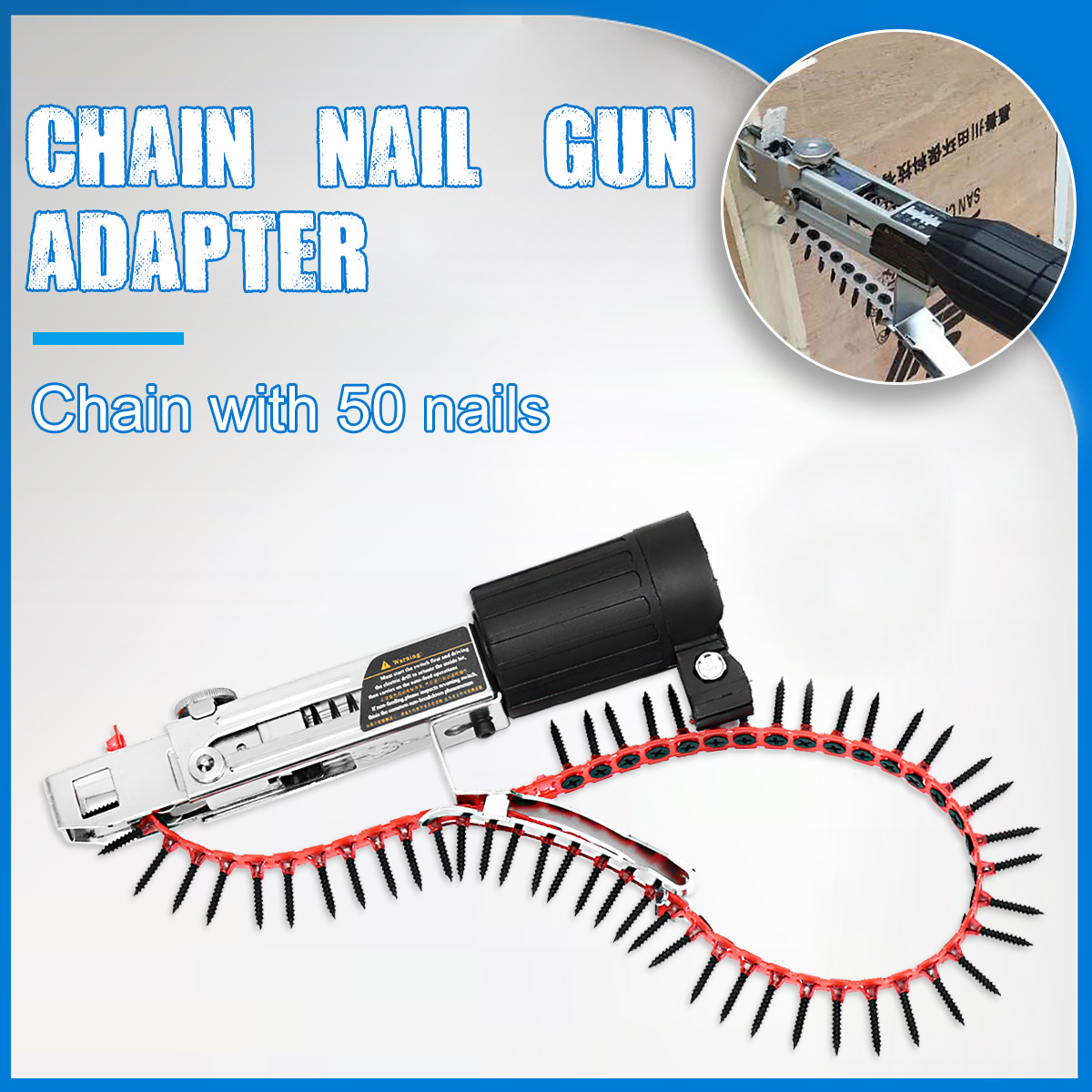Drillpro Automatic Chain Nail Gun Adapter Screw Gun for Electric Drill Woodworking Tool Cordless Power Drill Attachment
