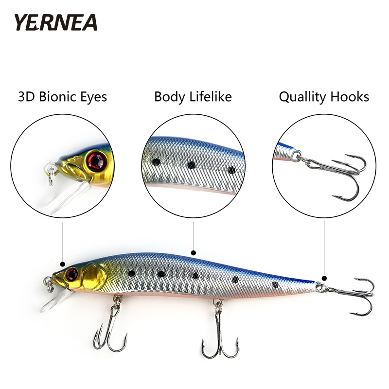 Yernea 1PCS 14cm 22 4g Minnow Fishing Lures 5 Colors Wobblers 3D Eyes Artificial Bait Carp Fishing Tackle Crankbait Accessories in Fishing Lures from Sports Entertainment