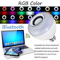 E27 Wireless bluetooth LED Light Speaker Bulb RGB 12W Music Playing lamp Dimmable Wireless Led Lamp with 24 Keys Remote Control