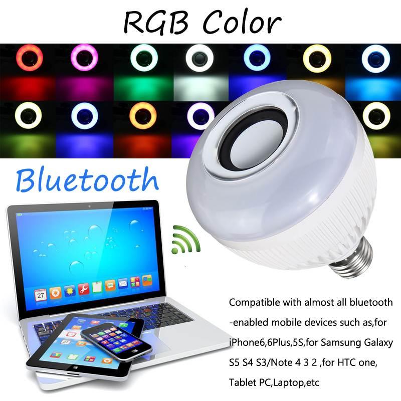 E27 sans fil bluetooth haut-parleur lumineux LED ampoule RGB 12 W musique jouant lampe Dimmable sans fil lampe à LED avec 24 touches télécommande