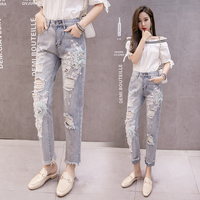 2019 spring women's fashion flower sequined Beading embroidered hole nine minutes tall waist jeans female Retro pencil jeans