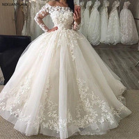 2019 New Puffy Ball Gown Wedding Dresses Off Shoulder Full Sleeves Lace Appliques Floor Length Plus Size Formal Bridal Gowns