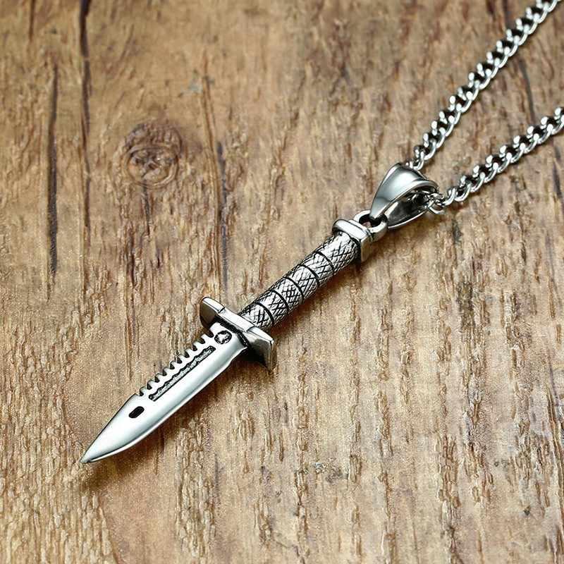 Legal sobrenatural espada faca faca colar pingente para homem de aço inoxidável masculino bicicleta punk jóias