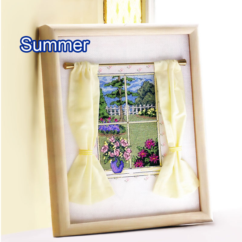 Fishxx Cross Stitch Cross191-8 European Magazine Four Seasons Window Sill Small View Curtain Accessories Hand-embroidered Kit