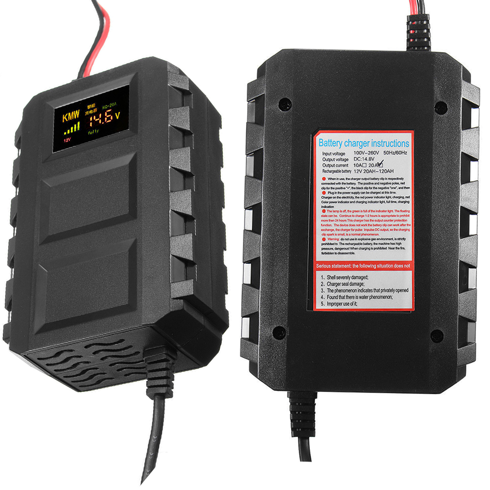 High Quality 12V 20A Lead-acid Smart Battery Charger Car Battery Charging Units With LCD Screen