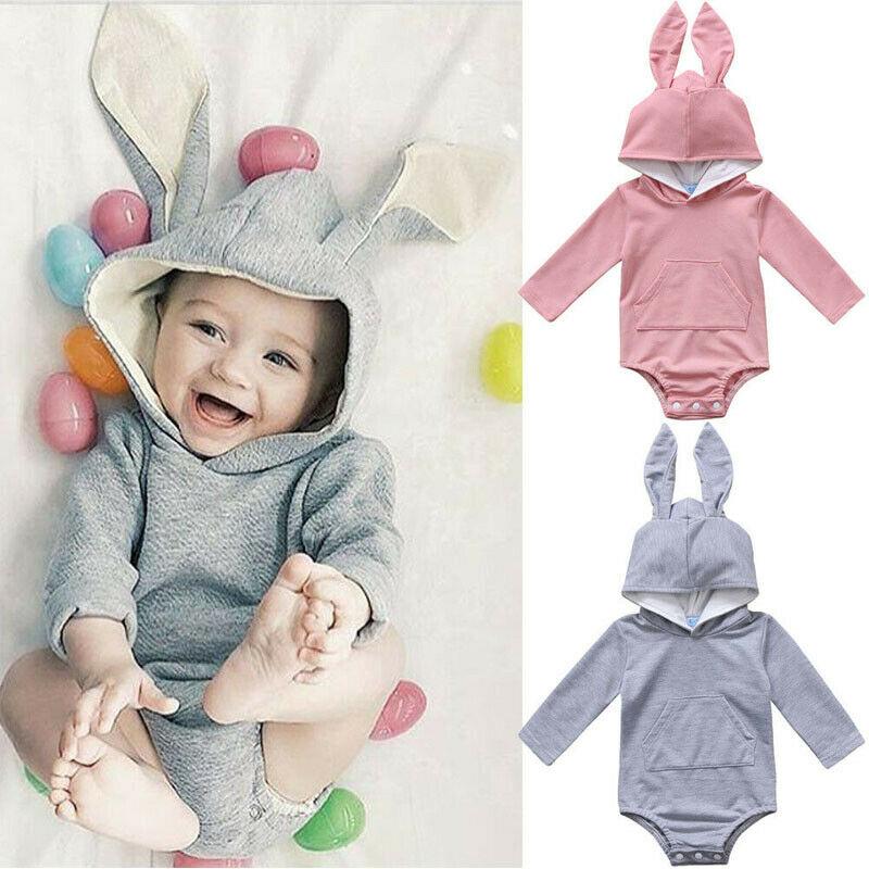 Newborn Boy Girl Hoodie Bodysuit Rabbit Romper Jumpsuit Bunny Easter Outfit Set