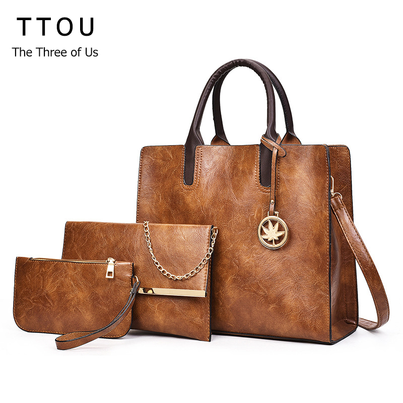 TTOU Vintage PU Leather Bag Women Fashion Shoulder Bag Ladies Large Capacity Crossbody Bag Female 3