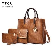 TTOU винтажная сумка из искусственной кожи женская модная сумка через плечо женская большая емкость сумка через плечо Женская 3 комплекта сумка + маленький кошелек