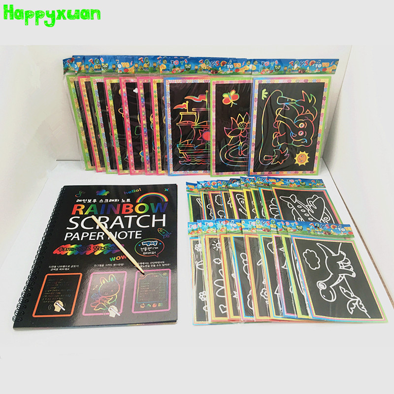 Happyxuan 31pcs/lot Mixed Magic DIY Rainbow Scratch Art Paper Picture Note Book Set For Kids Kindergarten Educative Toys Drawing