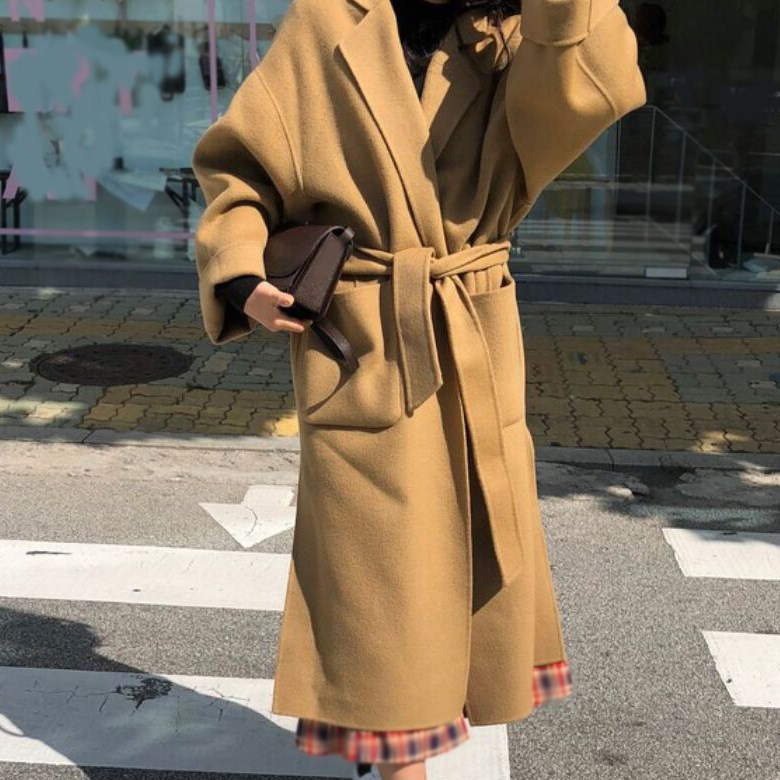 Survêtement 2018 De Casual Manteau Mélanges Long Chaud Caramel Laine Épais Ceinture Taille Réglable Grande Femme Hiver xrxXfC