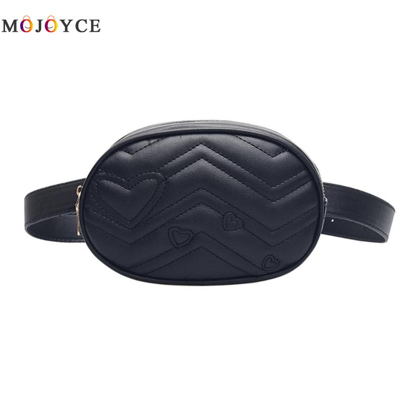 Solid Color Love Heart Print Oval Shape Waist Bags Women Fanny Packs Phone Pouch Crossbody Belt Bags