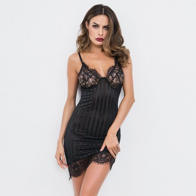 15a192f6284 US $13.51 49% OFF|Women Babydolls Sexy Lingerie Hot Erotic Dress Mini Lace  Transparent White Sleepwear Ladies Black Sex Nightwear Babydoll Chemise-in  ...