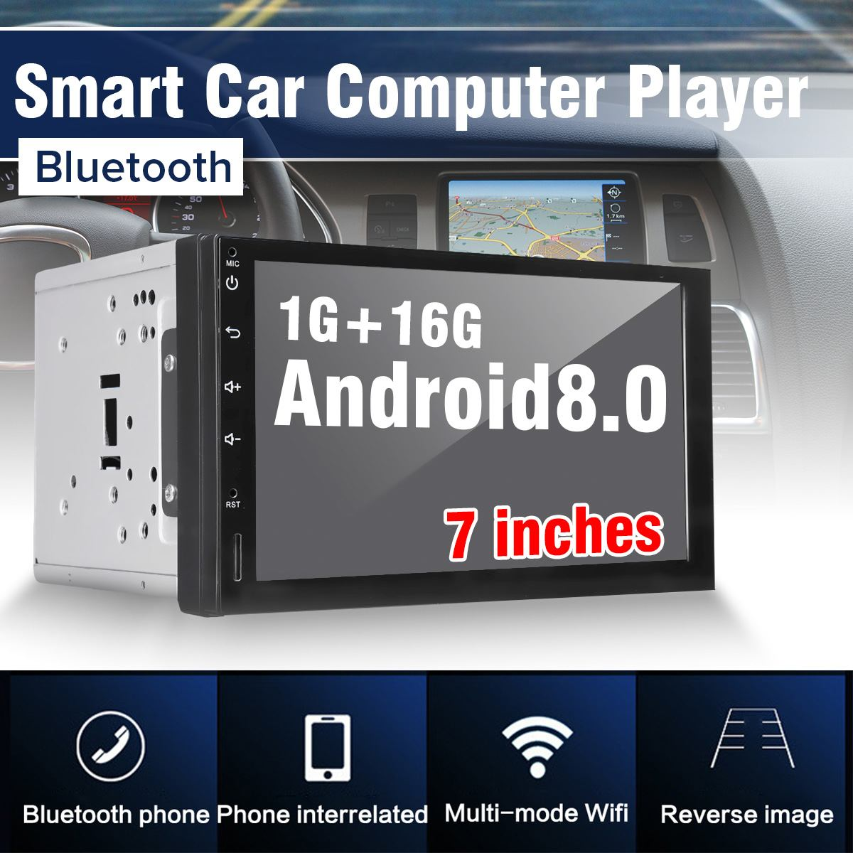 Audew 7 Android 8.0 Car Radio Stereo GPS di Navigazione bluetooth USB SD Lettore 2 Din Touchs Car Audio Autoradio multimedia PlayerAudew 7 Android 8.0 Car Radio Stereo GPS di Navigazione bluetooth USB SD Lettore 2 Din Touchs Car Audio Autoradio multimedia Player