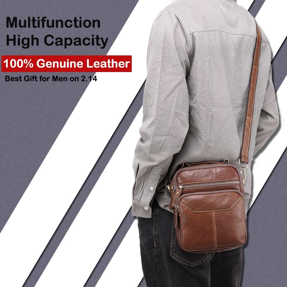 X.D.BOLO Genuine Leather Messenger Bags Men's Shoulder Bag Cowhide Strap Small Male Handbags Casual Crossbody Bags for Men