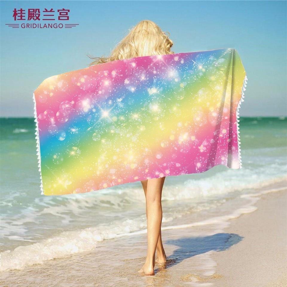 Home Gridilango Cartoon Printed Panda Round Beach Towels Microfiber Bath Towel Cute Animals Dinosaur Blanket For Kids Boys Girls Gift