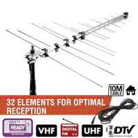 32 Element TV Antenna Outdoor Digital Aerial UHF VHF HD FM Amplified 8.5db DVB T Signal Booster TV Receiver Accessories 111.5cm