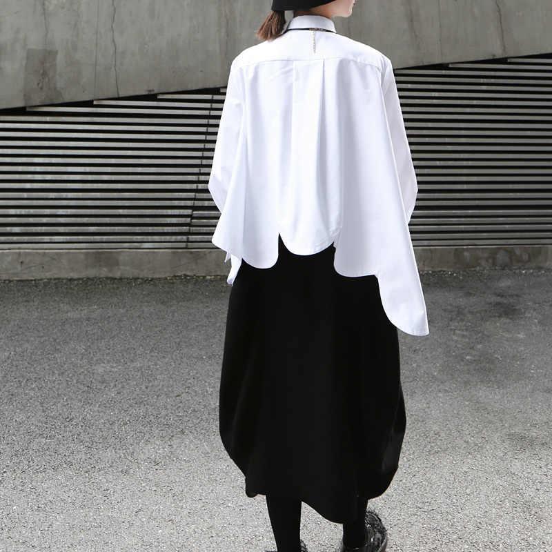 [Eem] 2019 yeni sonbahar kış yaka uzun kollu beyaz düzensiz Hem kesim dikiş düzensiz büyük boy gömlek kadın bluz moda JO195