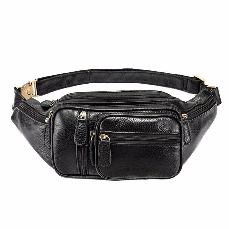 Men Retro Leather Fanny Pack Waist Bag Hip Purse Phone Bum Belt Bags with Adjustable Strap