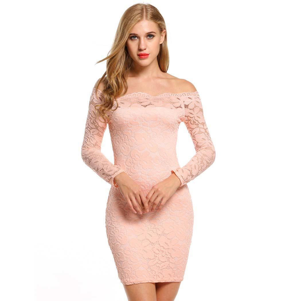 AL'OFA Women Lace   Cocktail     Dresses   Ladies Off-shoulder Pencil Party   Dress   Long Sleeve Sexy Mini Bodycon   Cocktail   Club   Dress