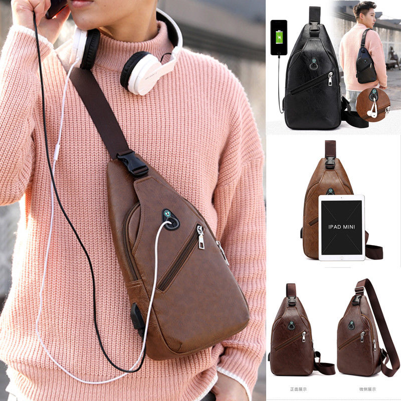 Men Leather Chest Cycle Sling Satchel Travel Shoulder Crossbody Bag Pack Purse