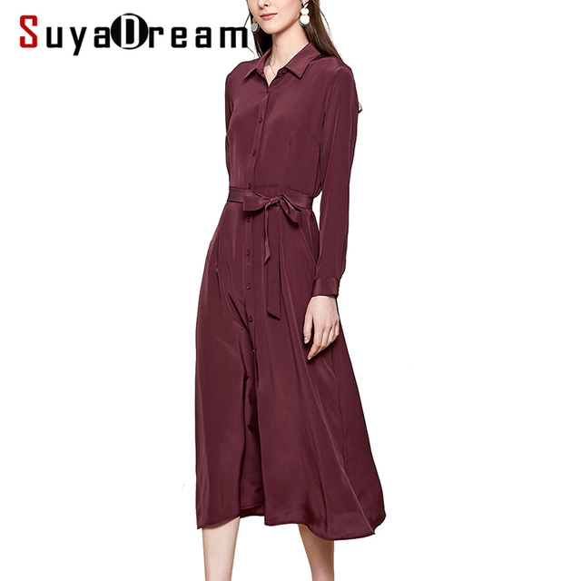 Women Silk Dress 16mm 100% REAL SILK Crepe Office Lady Long Dresses for Women Heavy Silk 2019 Spring New Belted Dress Brown