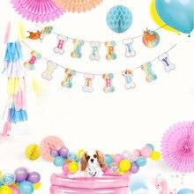 Rainbow Puppy Birthday Banner Bone Shape Happy Bunting Garland Dog Pawty Woof Pet Party Baby Shower Doggy
