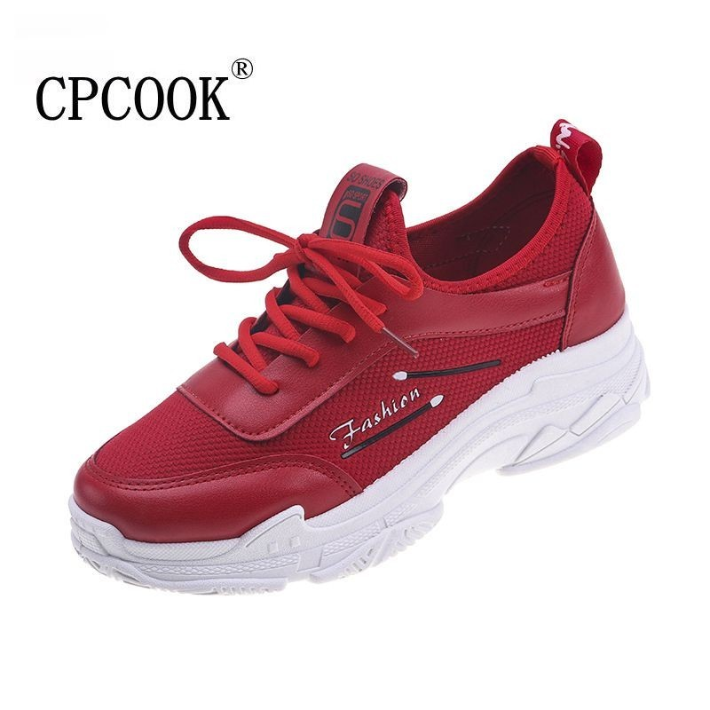 Zapatos rojo Planos Femenino Zapatillas De Transpirable blanco Negro Tenis Rojo Casuales Blanco Mujer Plataforma Moda Sneakses Damas 2019 qxHgUwatz
