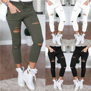Bandage Jeans Pencil-Trouser Fahsion-Pants Stretch Ripped Knee-Hole Slim High-Waist Women Skinny