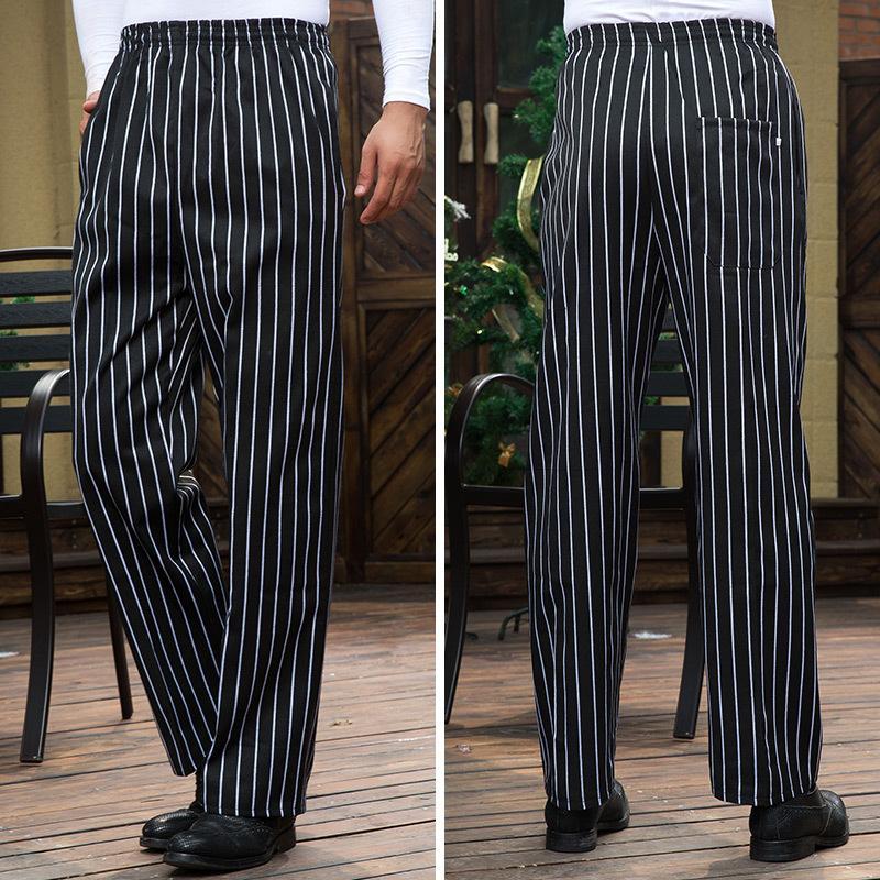 Smart Casual Men Pants Restaurant Cook Chef Waiter Trousers Vertical Striped Pants Gray Trousers Restaurant Uniform Long Pants