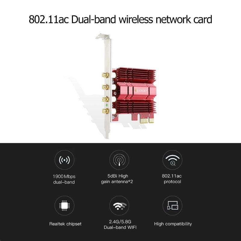 EP-9609 carte réseau sans fil PCI-E 2.4/5 GHz double bande AC 1900 Mbps PCI Express adaptateur WiFi de bureau avec antennes 4 * 5dBi pour gagner - 6