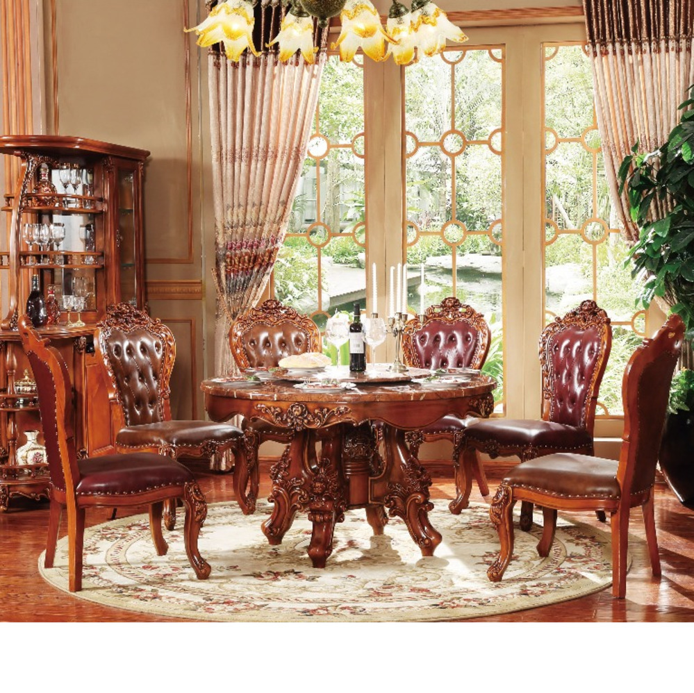 New Classical Dining Room Furniture Wooden Carving Kitchen Table Set Muebles Chair Marble Mesa Plegable De Jantar Sala Comedor