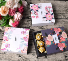 40PCS Drawer Box Paper Packaging Sakura Flowers Chocolate Candy Wedding Gift Party Favors Small Boxes Jewelry Cardboard