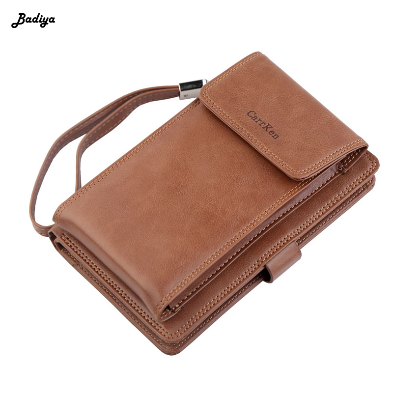 Leather Clutch Bag Driver License Holder Vintage Men Wallet Credit Card Passport Holder Multifunction Phone Purse Coin Pocket