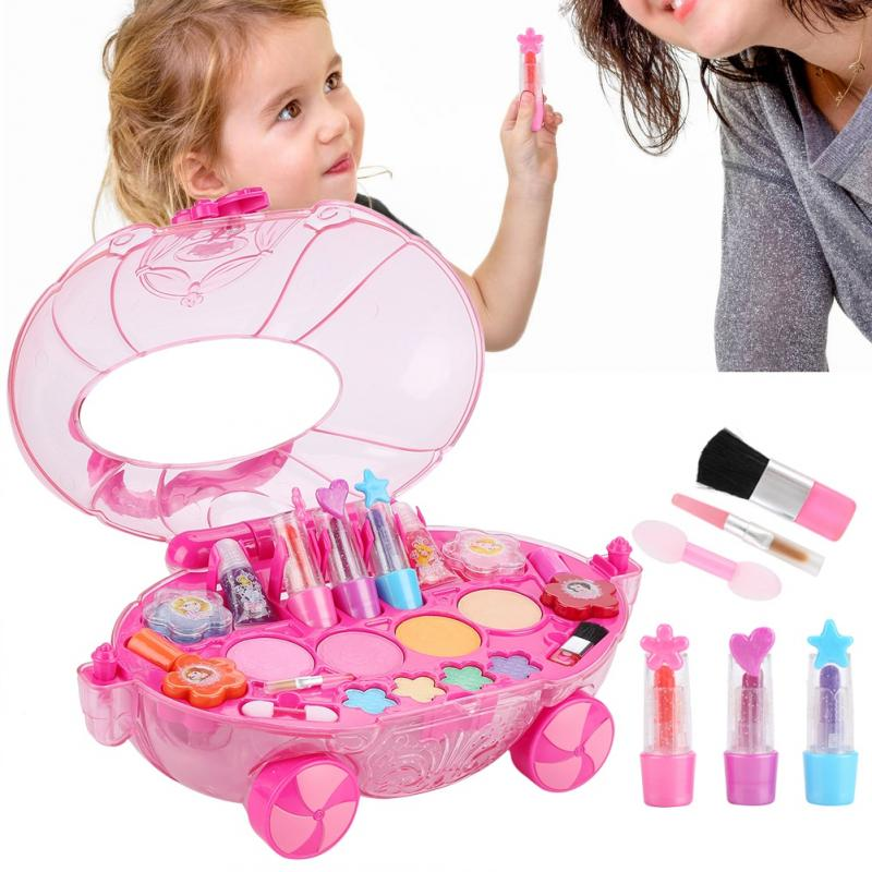 Disney Princess Girls Makeup Toy Set Safety Cosmetics Car Toy Pretend Play Girls Makeup Training Toys For Children Girls Gifts