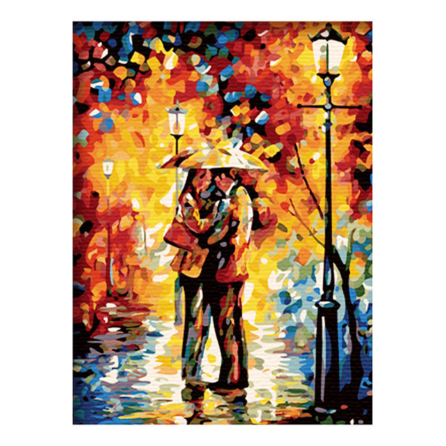 New LARGE Canvas DIY Digital Oil Painting Kit Paint by Numbers No Frame Decor 20x16inch: Sweet embrace