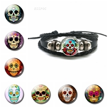 Sugar Skull Bracelet Mexico Folk Art Black Leather  Tourist Souvenir Day of the Dead Jewelry Halloween Gift