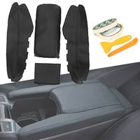 4Pcs Black Leather Armrest Cover Lock Center Console Latch Lid Cover Clip Car Arm Rest Case For Honda for Civic 2016 2017
