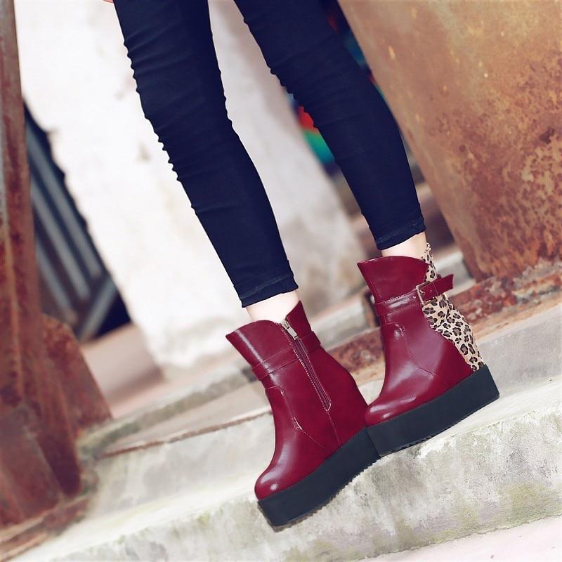 Leopard Zunehmende Schwarzes Schuhe 11 Frauen brown Höhe Frau High rot Winter Stiefeletten Cm Frische Plattform wein My90 Herbst Heels Kraft Stiefel wIq0gOTnx