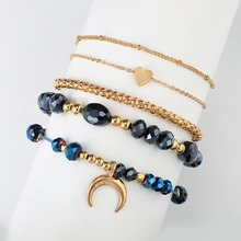 5Pcs/set Natural Stone Beads Chain Bracelet Charms Women Statement Heart Moon Link Chain Gold Bracelet Korean Jewelry Shellhard недорго, оригинальная цена