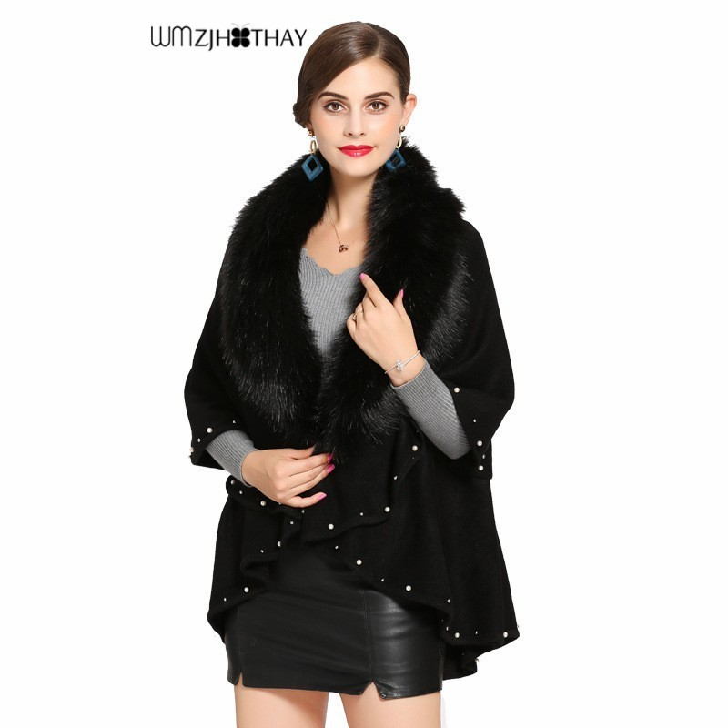 2019 nouveau femmes hiver Faux renard fourrure cou Cardigan veste mode Cape Poncho manteau chaud épais couture perles décontracté lâche châle