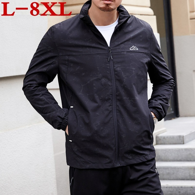 2019 New Plus Size Youth 8xl 7xl 6xl 5xl  Jacket Men Thin Bomber Wind Breaker Stand Collar Spring