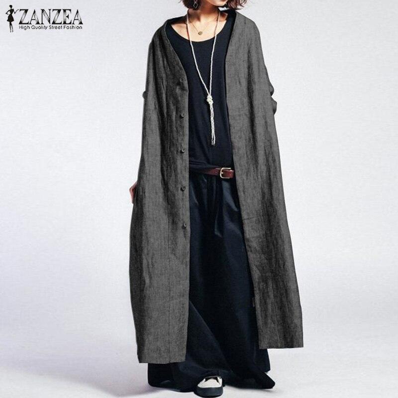 ZANZEA Women Coats Female Long Jackets Vintage Casual Single Breasted Top Coats Woman Button Long Sleeve Outwear Plus Size 5XL