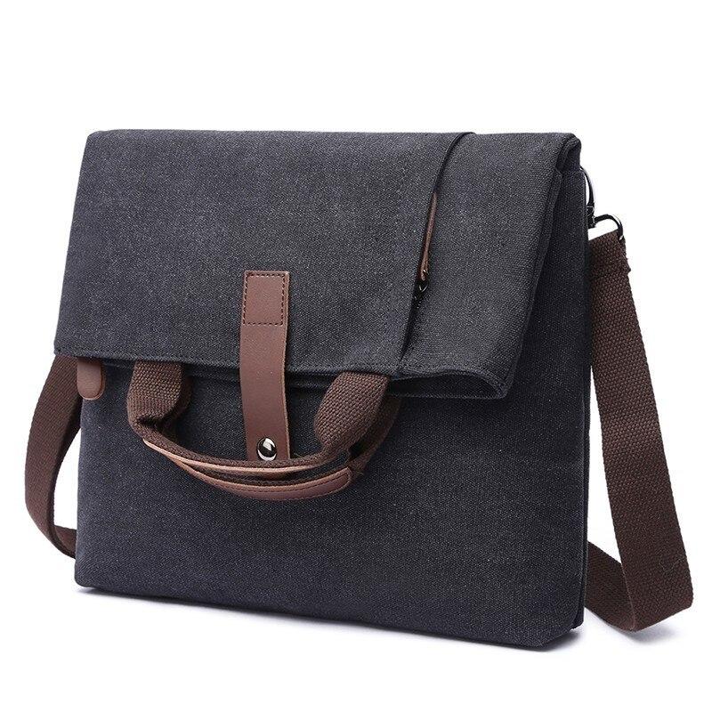 Men Canvas Messenger Bag School Shoulder Crossbody Bag Laptop Business Briefcase