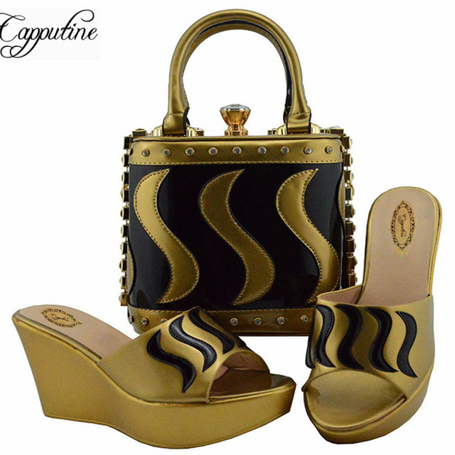 Capputine Latest African Women Shoes With Bags Set 2019 Italian Party Pumps  Shoes And Bag Set On Stock Summer Slipper Shoes 0fcec694734e
