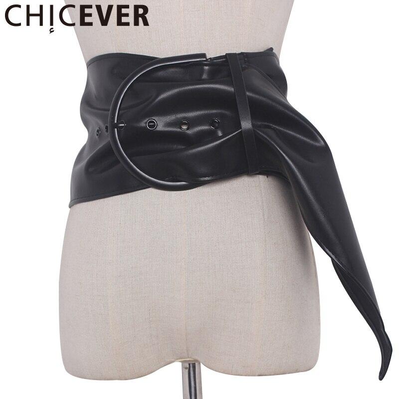 CHICEVER 2020 Summer Wild PU Leather Female Belt Women Big Buckle Cummerbunds Black Lace Up Belts New