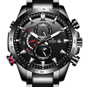 Switzerland BINGER Watch Men Automatic Mechanical Luxury Brand Watches Sapphire Luminous relogio masculino B8-11 - discount item  49% OFF Men's Watches
