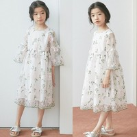 Teenage girl summer dress flower children clothes 2019 spring little girl party dress lace sleeves formal